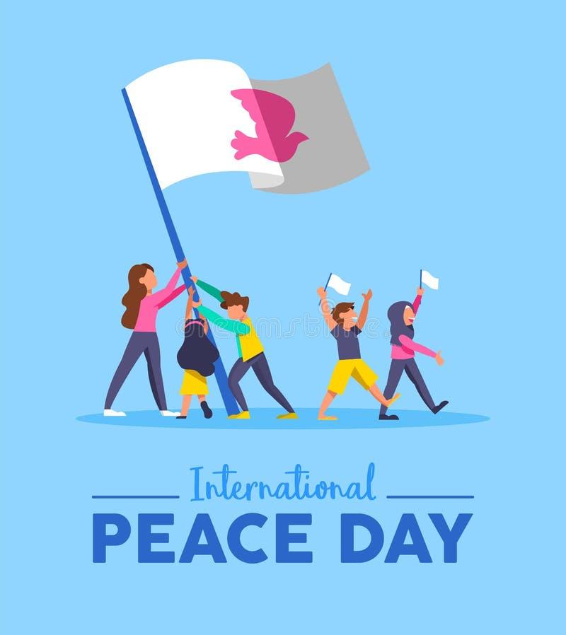 Tarjeta del día de la paz de mundo para el trabajo en equipo diverso de la gente libre illustration
