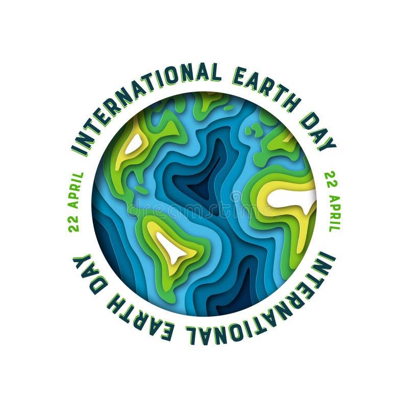 Tarjeta del Día de la Tierra del planeta del recorte del Libro Verde ilustración del vector