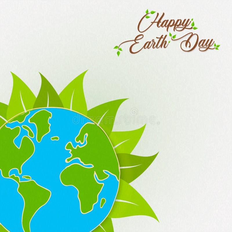 Tarjeta del Día de la Tierra del planeta verde con la hoja ilustración del vector