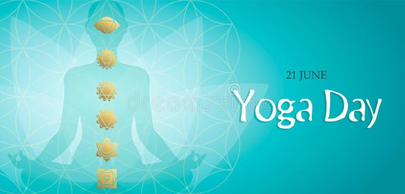 Tarjeta del d?a de la yoga de los iconos del chakra de la actitud y del oro del loto stock de ilustración