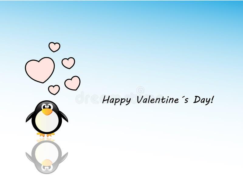 Tarjeta del día de los valentinedel vector con el pingüino stock de ilustración