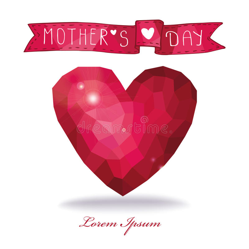 Tarjeta del día de madre Corazón rosado de los polígonos con la cinta ilustración del vector