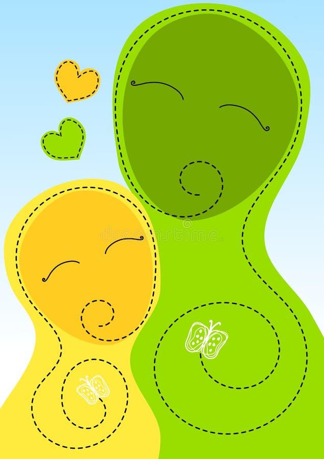 Tarjeta del día de madres del abrazo de la madre y de la hija ilustración del vector