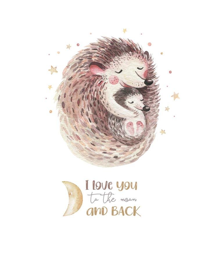 Tarjeta del día de madres de la acuarela - erizo de la madre abrazar a su niño Poco bebé de la historieta del watercolour del beb libre illustration