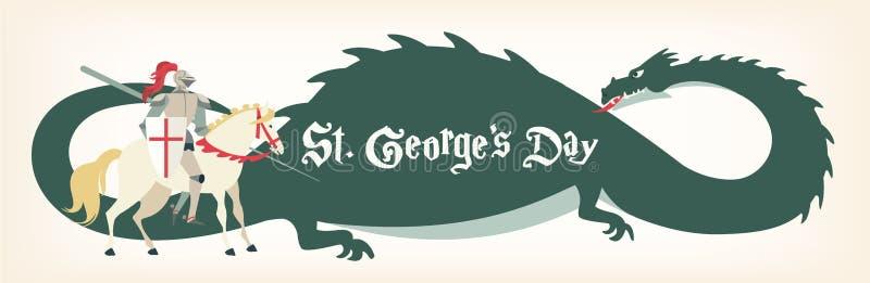 Tarjeta del día de San Jorge s con el caballero y el dragón Ilustración del vector stock de ilustración