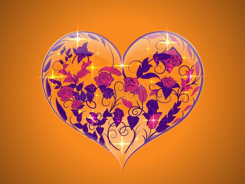 Tarjeta del día de San Valentín bajo la forma de corazón de cristal transparente con pintado libre illustration