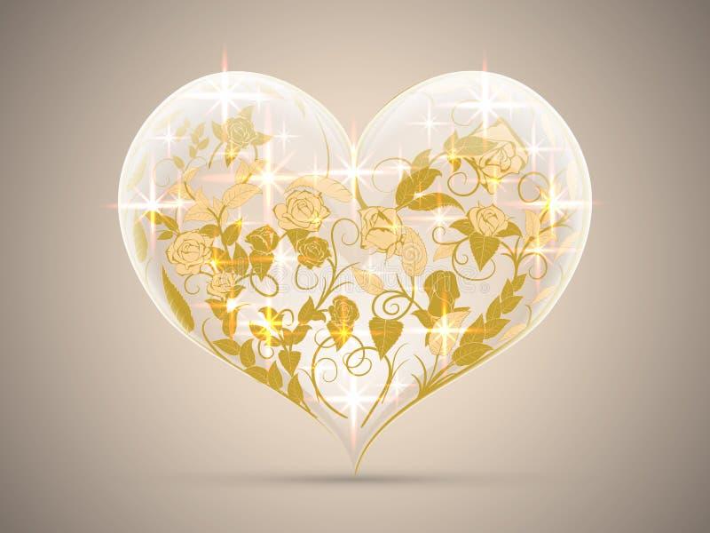 Tarjeta del día de San Valentín bajo la forma de corazones cristalinos chispeantes con un PA del oro stock de ilustración