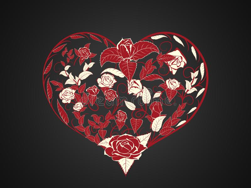 Tarjeta del día de San Valentín bajo la forma de ramificación y torcer ramas rojas de stock de ilustración