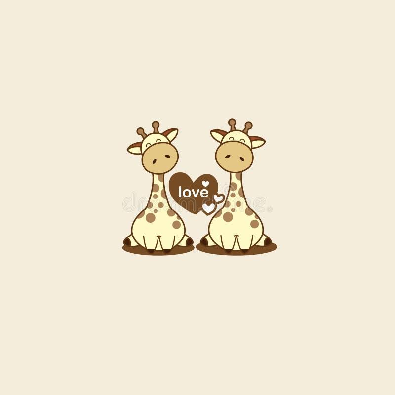 Tarjeta del día de tarjeta del día de San Valentín con la jirafa linda de los pares en amor libre illustration