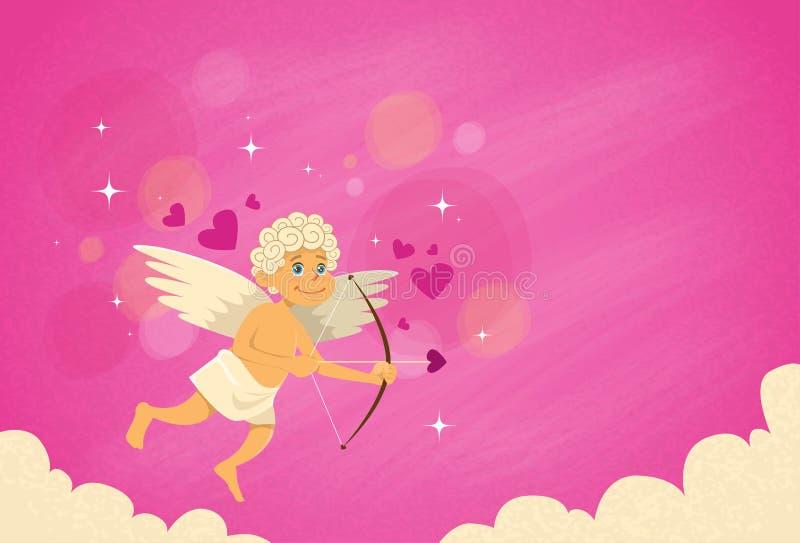 Tarjeta del día de San Valentín de Angel Cupid Bow Arrow Saint de la tarjeta del día de San Valentín stock de ilustración
