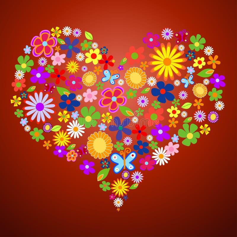 Tarjeta del día de San Valentín de la flor del resorte stock de ilustración