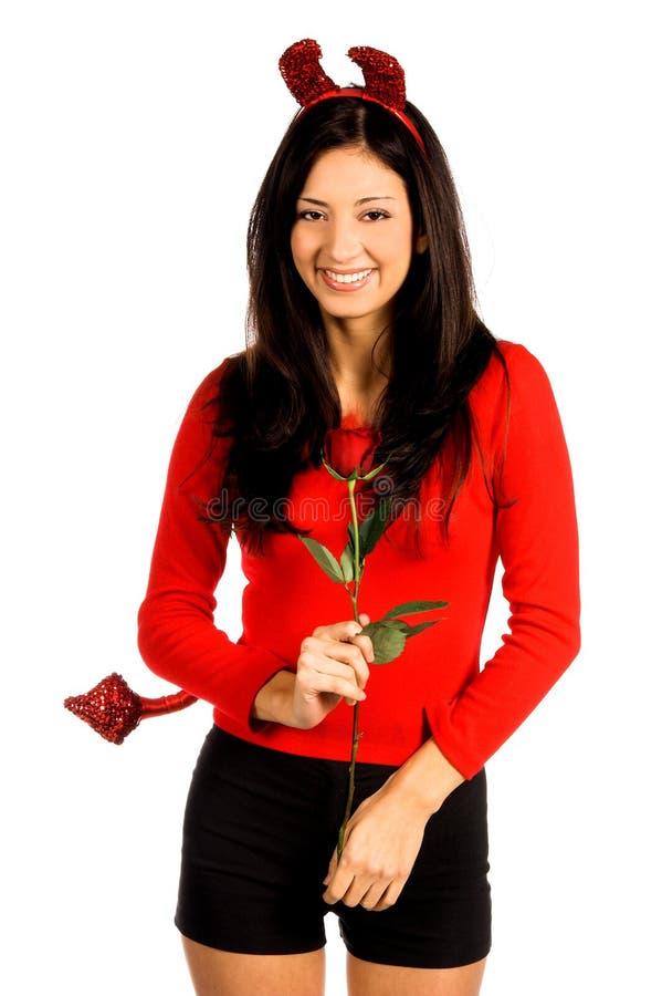 Tarjeta del día de San Valentín de la mujer del diablo fotos de archivo