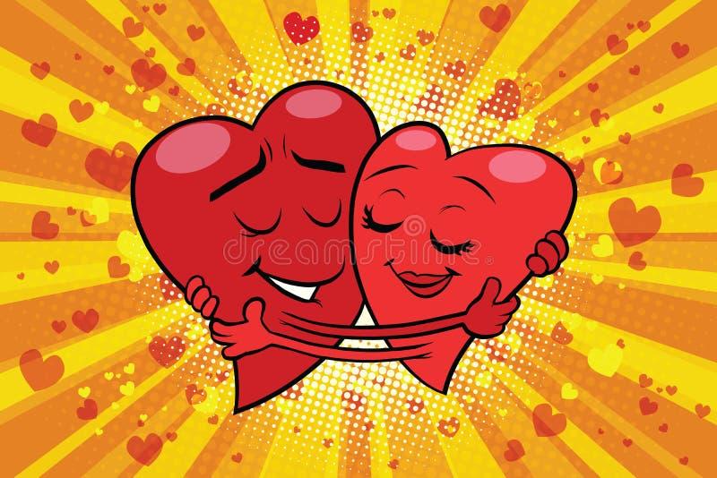 Tarjeta del día de San Valentín del amor de los pares del abrazo ilustración del vector
