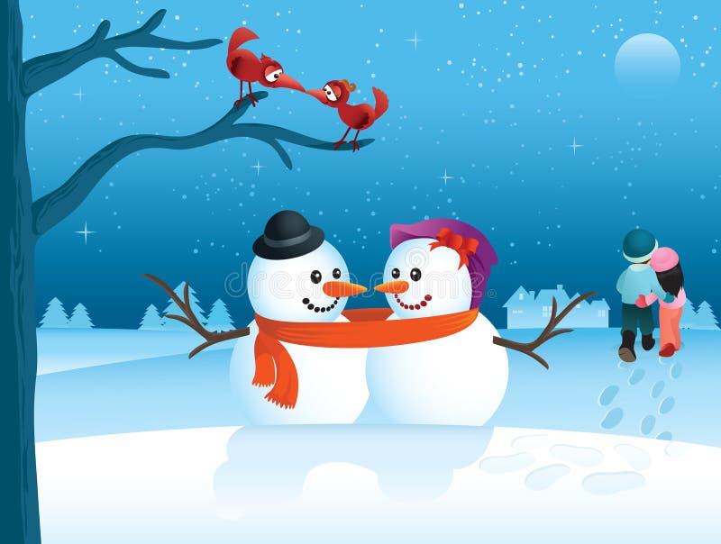 Tarjeta del día de San Valentín del invierno stock de ilustración