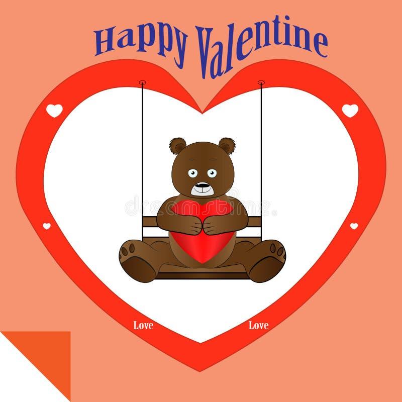 Tarjeta del día de San Valentín del oso imagenes de archivo