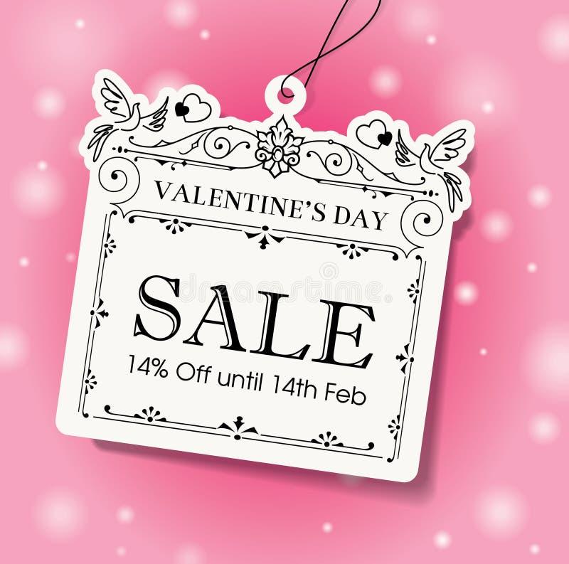 Tarjeta del día de San Valentín \ \ \ 'etiqueta de la venta del día de s stock de ilustración