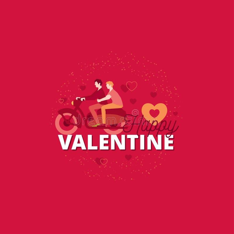 Tarjeta del día de San Valentín feliz Diseño romántico del cartel de los caracteres de las tarjetas del día de San Valentín stock de ilustración