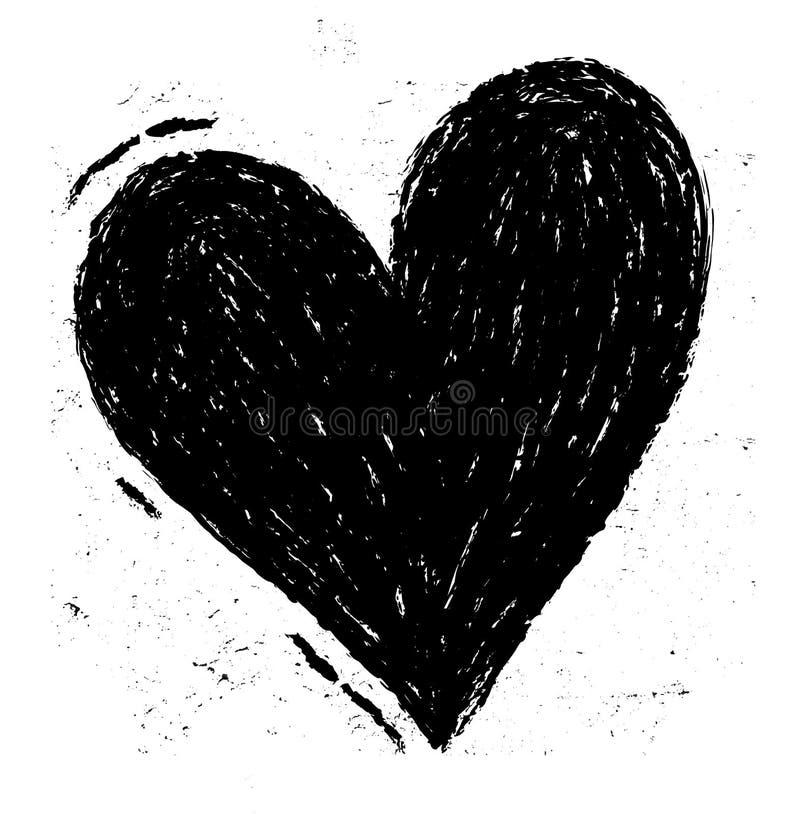 Tarjeta del día de San Valentín - fondo negro del corazón del Grunge Ilustración del vector EPS10 Corazón negro pintado a mano, e libre illustration
