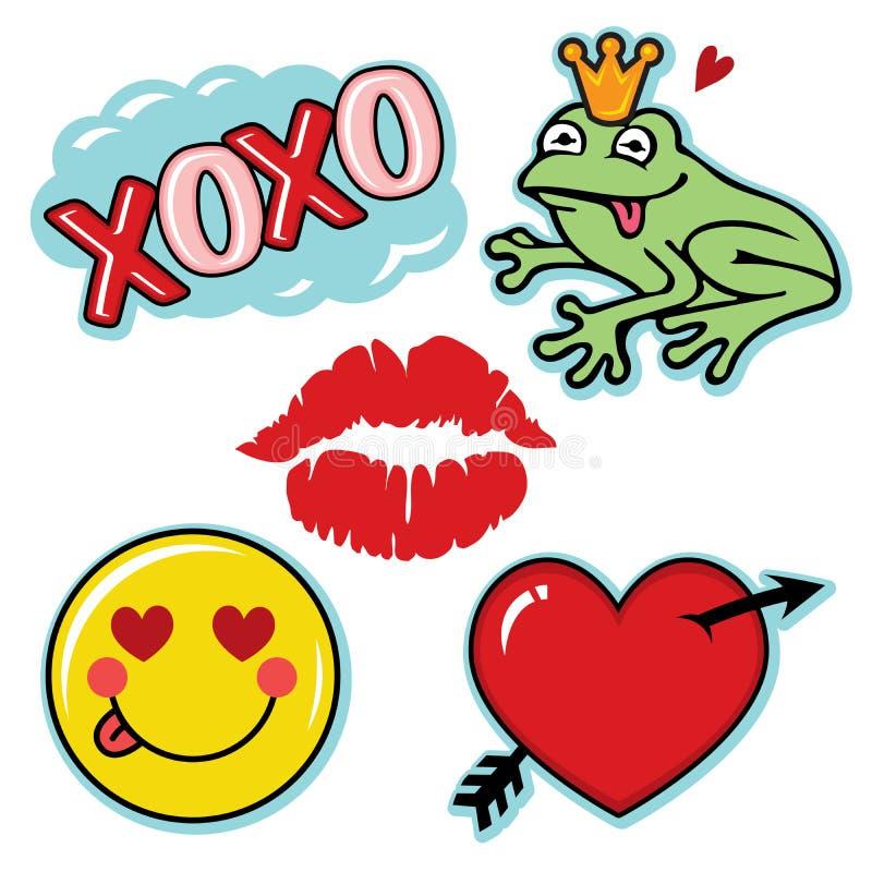 Tarjeta del día de San Valentín fresca y sistema del icono del amor de la diversión libre illustration
