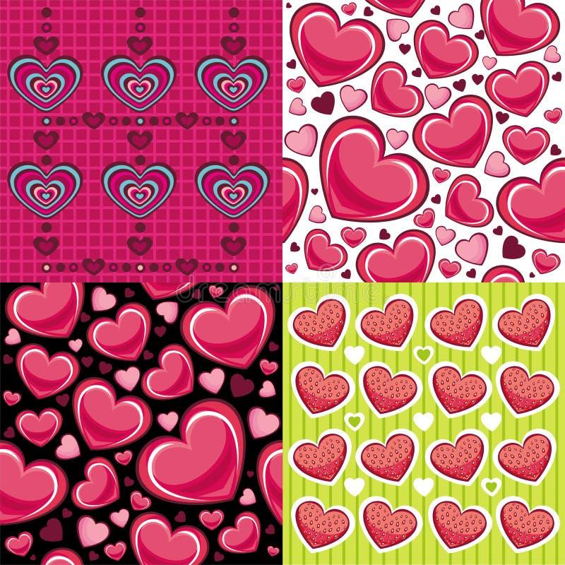 Tarjeta del día de San Valentín inconsútil de los fondos stock de ilustración