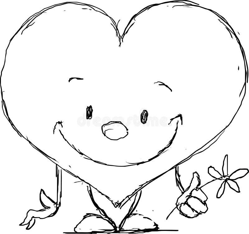 Tarjeta del día de San Valentín linda del corazón - vector negro del bosquejo libre illustration