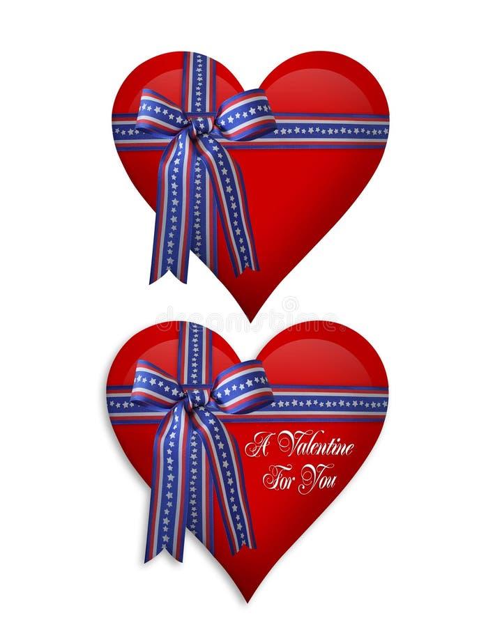 Tarjeta del día de San Valentín o corazones del 4 de julio stock de ilustración