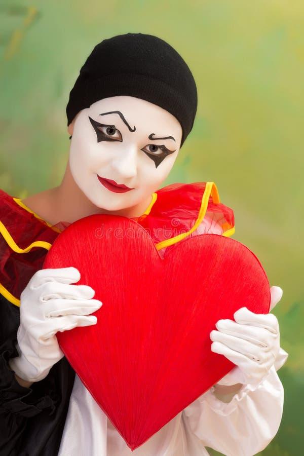 Tarjeta Del Día De San Valentín Pierrot Fotografía de archivo