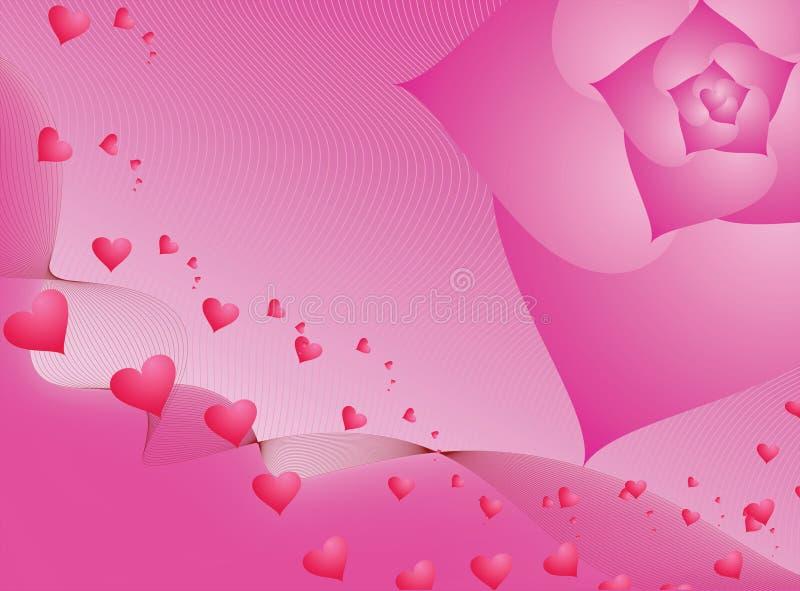 Tarjeta del día de San Valentín rosada stock de ilustración
