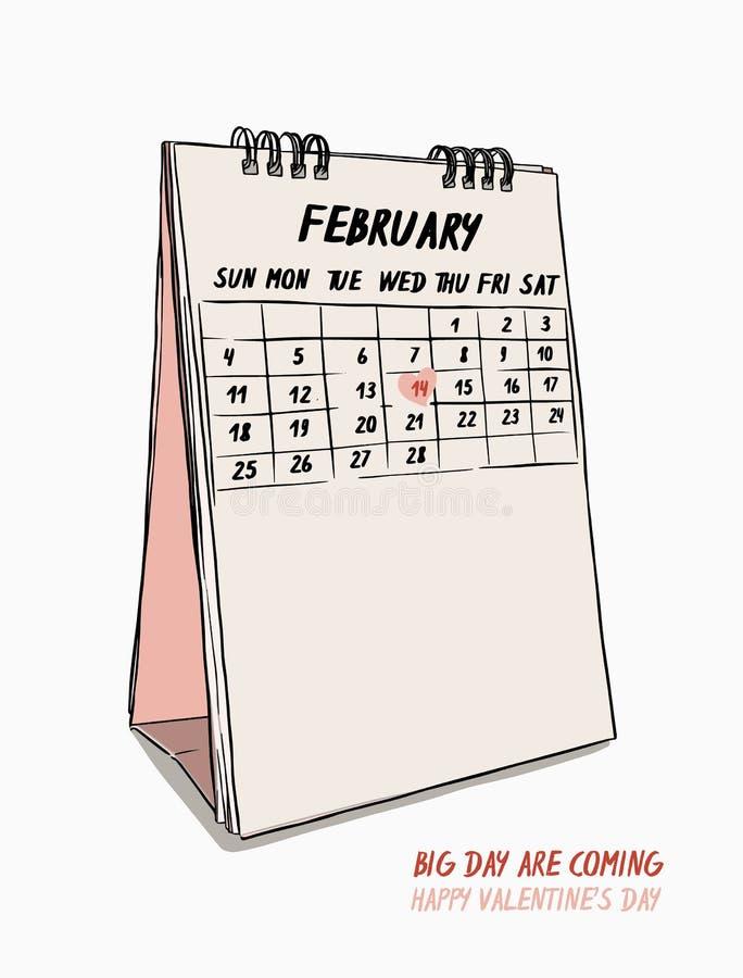 Tarjeta del día de San Valentín ` s día mano drenaje vector del calendario del 14 de febrero stock de ilustración