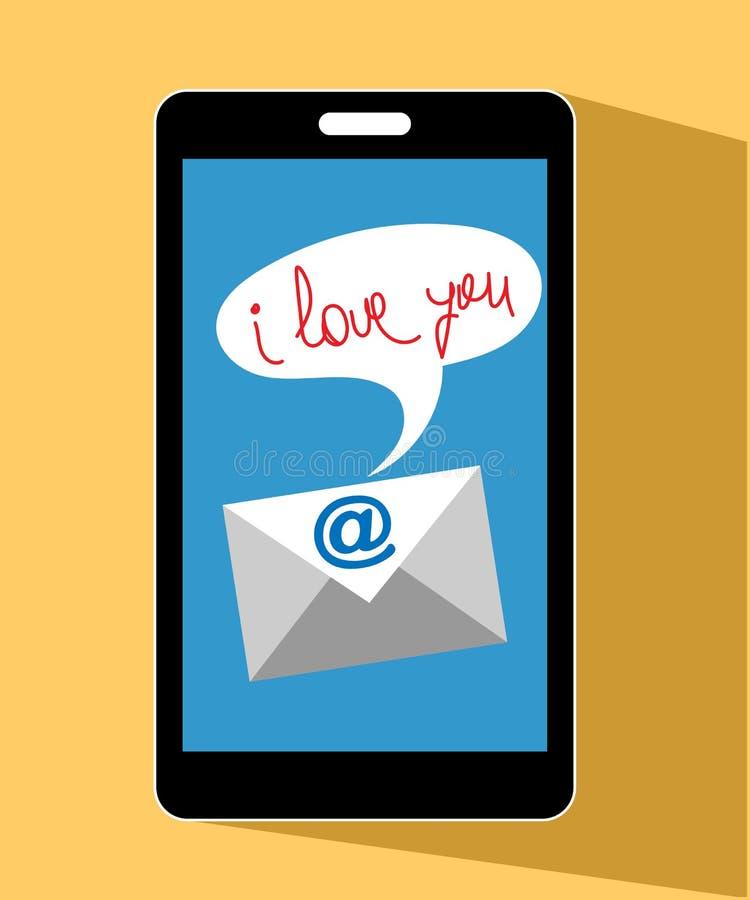Tarjeta del día de San Valentín del teléfono móvil te amo libre illustration