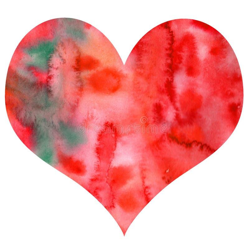 Tarjeta del día de San Valentín de textura del corazón de la acuarela a mano ilustración del vector