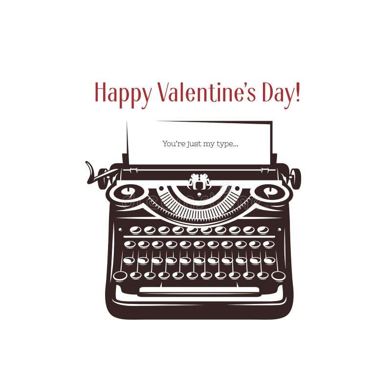 Tarjeta del día de tarjeta del día de San Valentín Máquina de escribir del vintage con el texto stock de ilustración