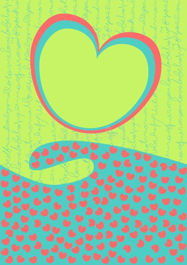 Tarjeta del día de tarjetas del día de San Valentín con la onda de los corazones ilustración del vector