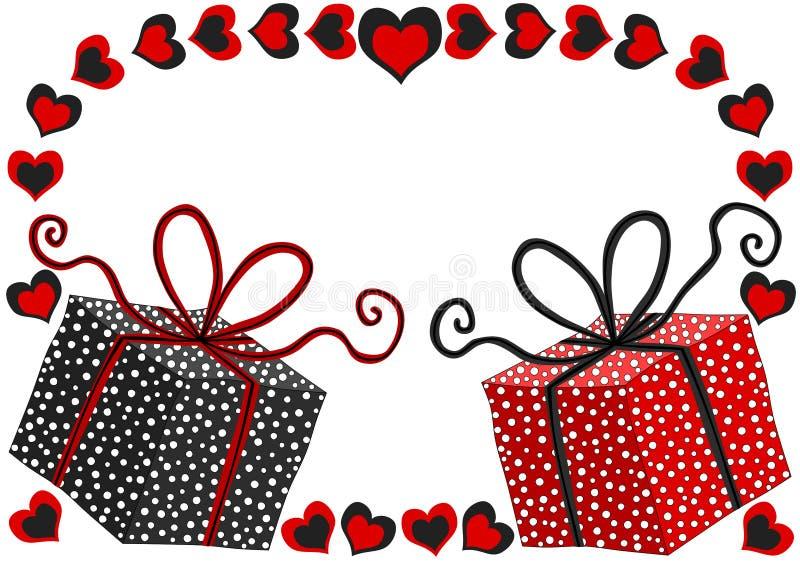 Tarjeta del día de tarjetas del día de San Valentín con las cajas de regalo ilustración del vector
