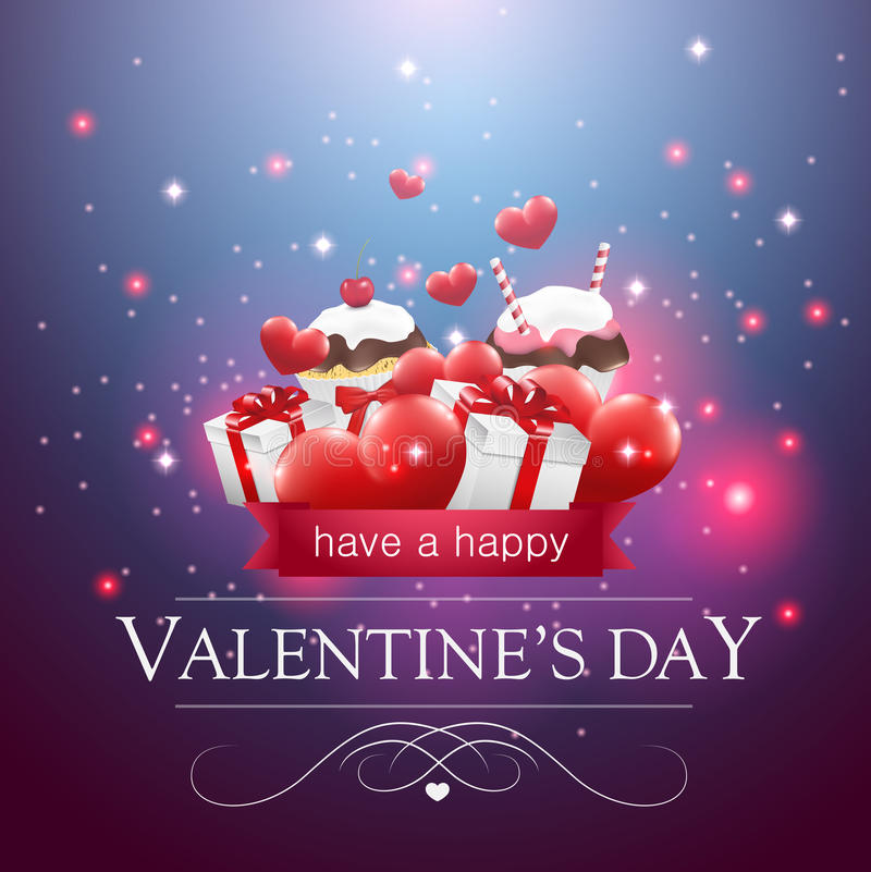 Tarjeta del día de tarjetas del día de San Valentín con las magdalenas y los presentes stock de ilustración