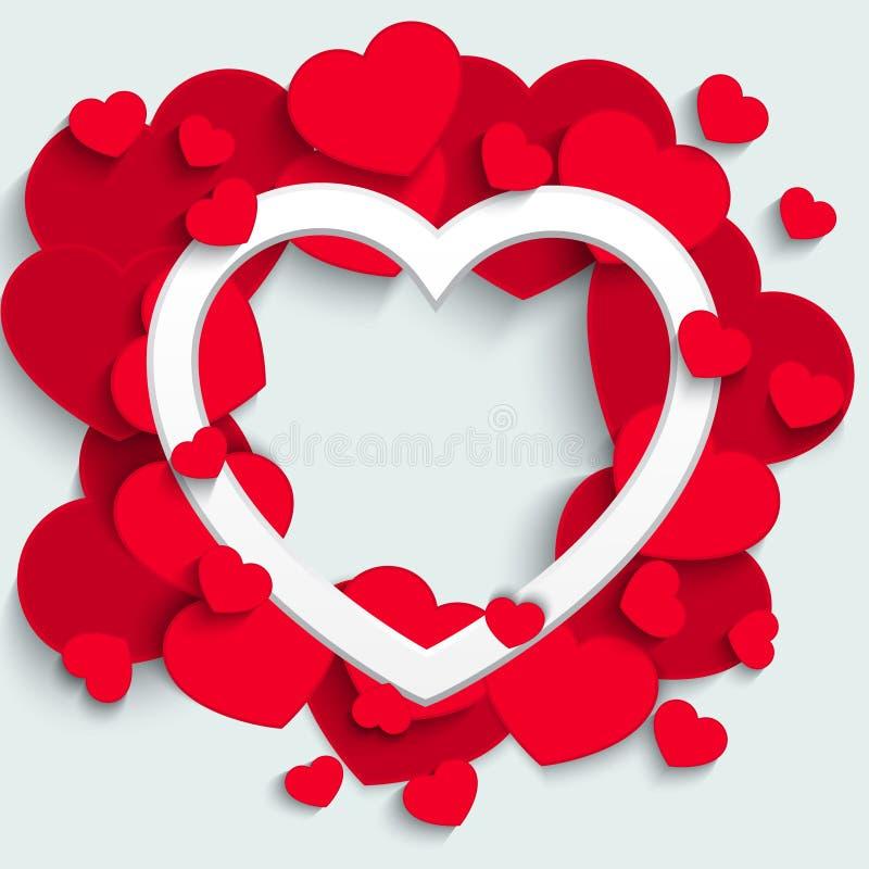 Tarjeta del día de tarjetas del día de San Valentín con los corazones de papel ilustración del vector