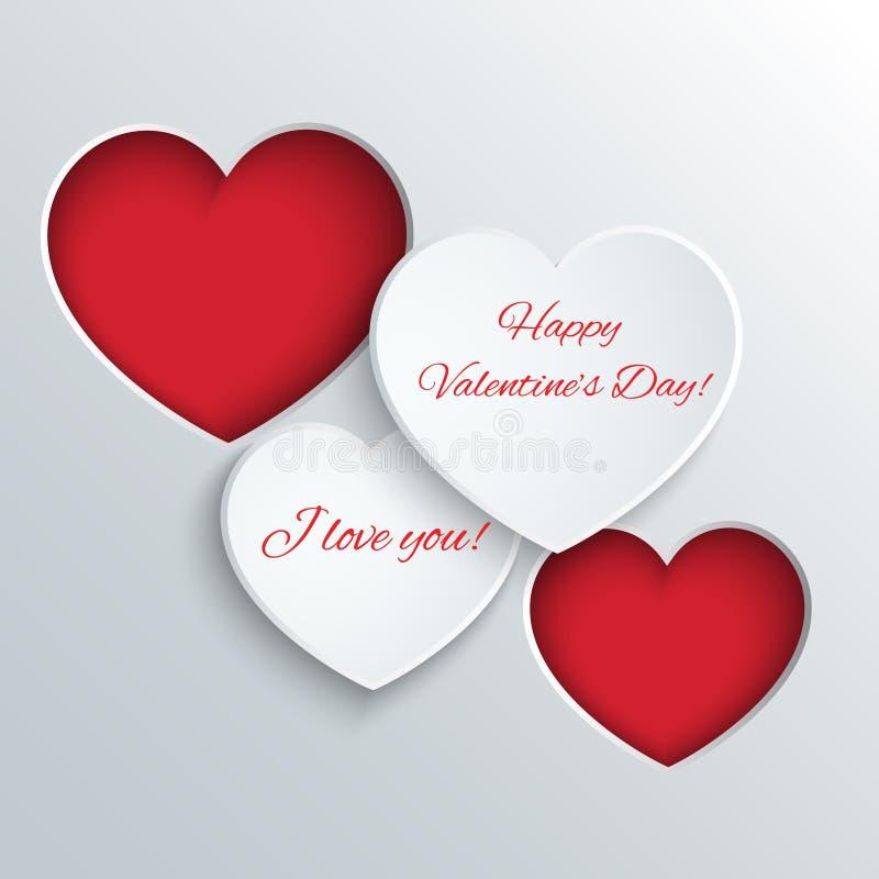 Tarjeta del día de tarjetas del día de San Valentín con los corazones de papel stock de ilustración