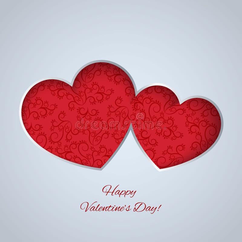 Tarjeta del día de tarjetas del día de San Valentín con los corazones de papel libre illustration