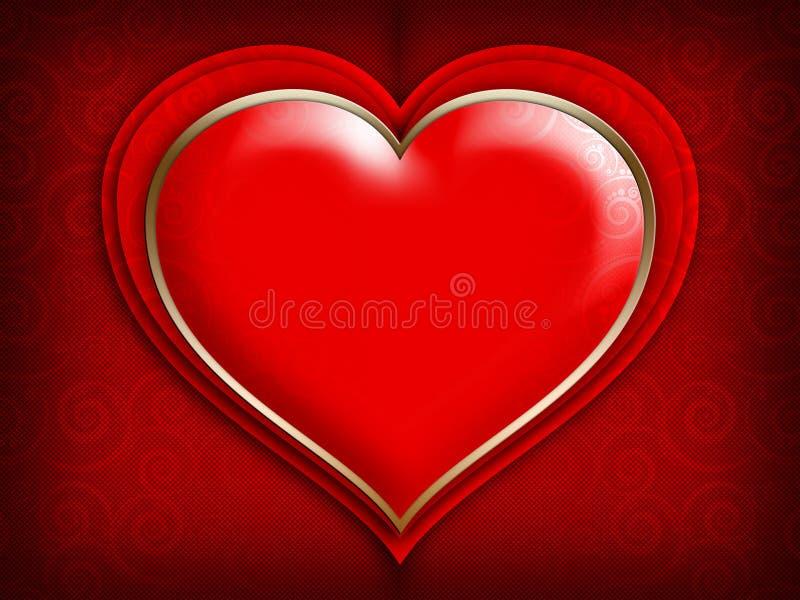Tarjeta del día de tarjetas del día de San Valentín - corazón rojo en fondo modelado ilustración del vector