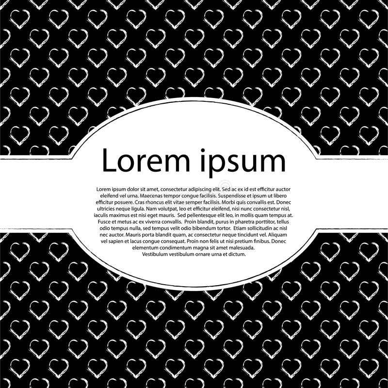 Tarjeta del día de tarjetas del día de San Valentín del amor Corazones negros y fondo blanco con el marco de texto oval foto de archivo