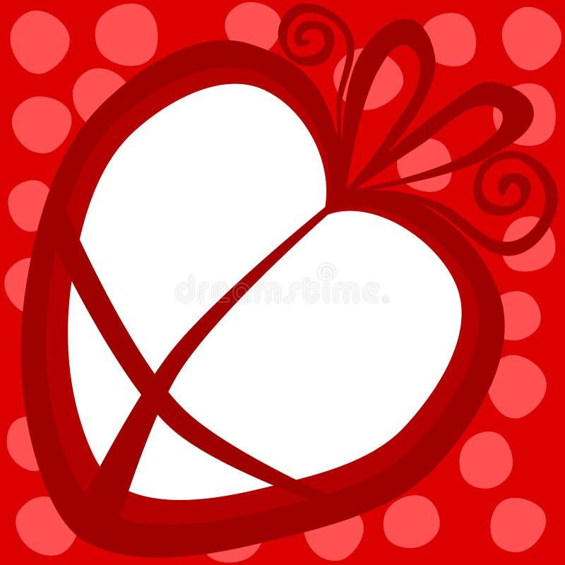 Tarjeta del día de tarjetas del día de San Valentín del marco del regalo del corazón ilustración del vector