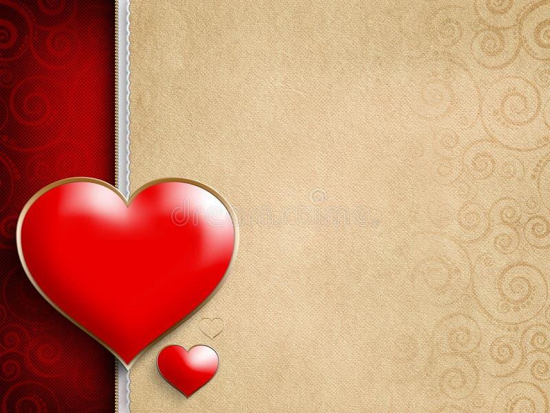 Tarjeta del día de tarjetas del día de San Valentín - dos corazones rojos stock de ilustración