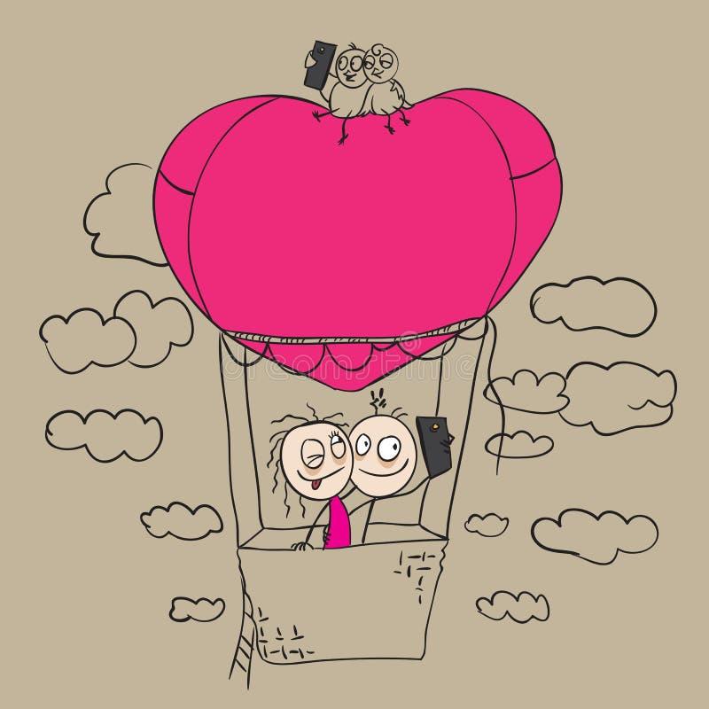 Tarjeta del día de tarjetas del día de San Valentín Respiración y sonrisas frescas libre illustration