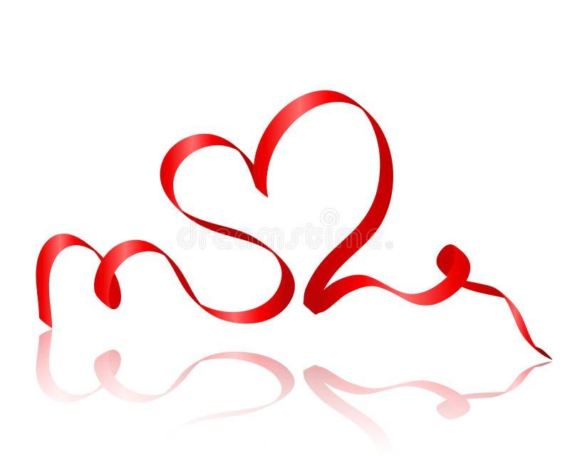Tarjeta del día de tarjetas del día de San Valentín con el corazón rojo de la cinta stock de ilustración
