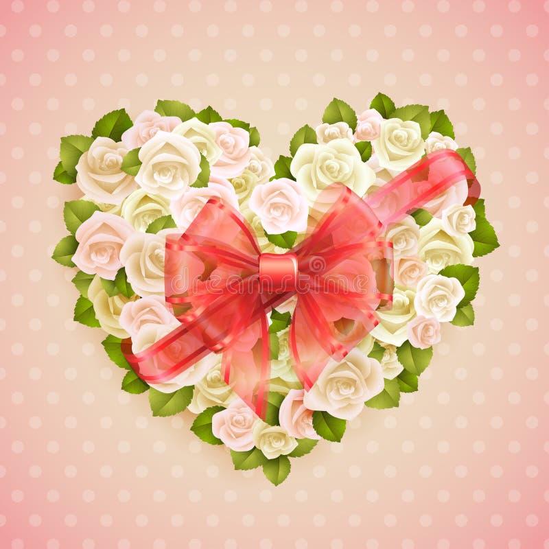 Tarjeta del día del `s de la tarjeta del día de San Valentín con las rosas ilustración del vector