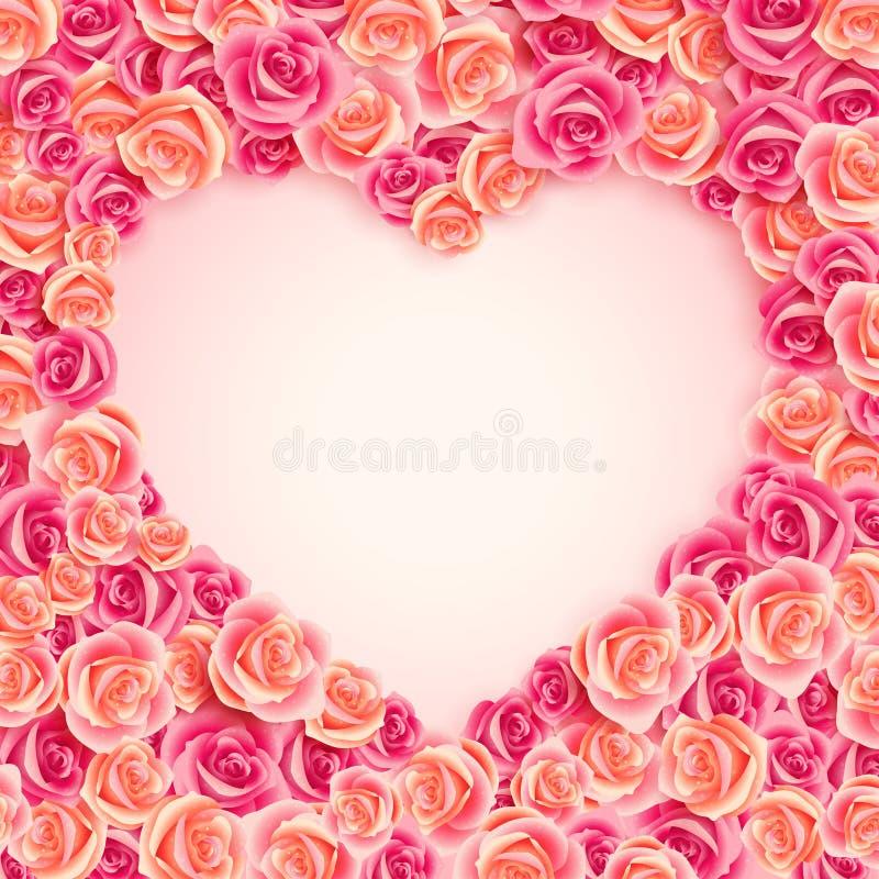 Tarjeta del día del `s de la tarjeta del día de San Valentín en rosas rosadas ilustración del vector