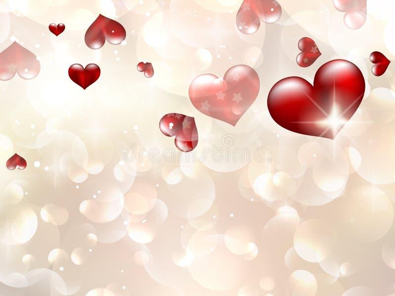 Tarjeta del día del ` s de Valentin con los corazones rojos. EPS 10 stock de ilustración