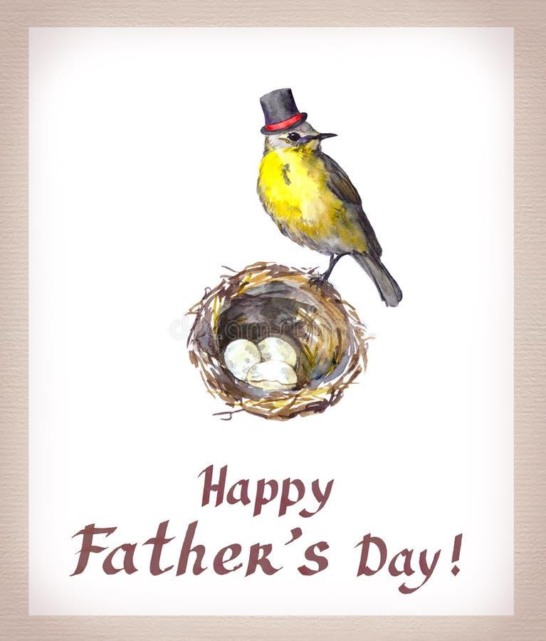 Tarjeta del día del ` s del padre Pájaro del vintage en sombrero alto en la jerarquía con los huevos watercolor stock de ilustración