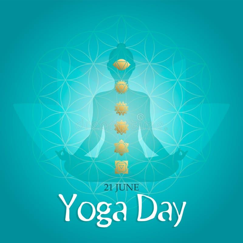 Tarjeta del d?a de la yoga de los iconos del chakra de la actitud y del oro del loto ilustración del vector