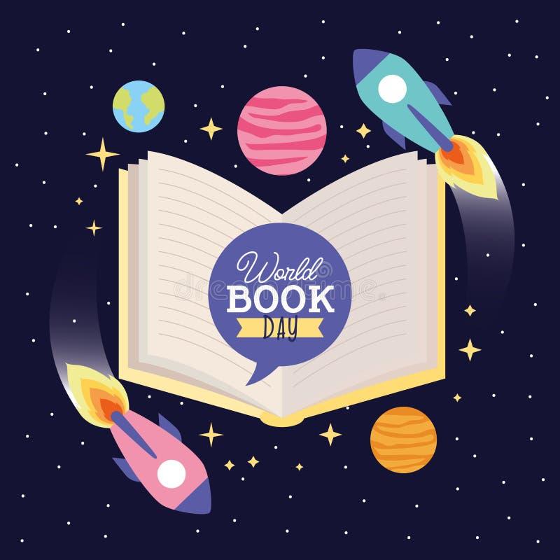 Tarjeta del d?a del libro del mundo stock de ilustración